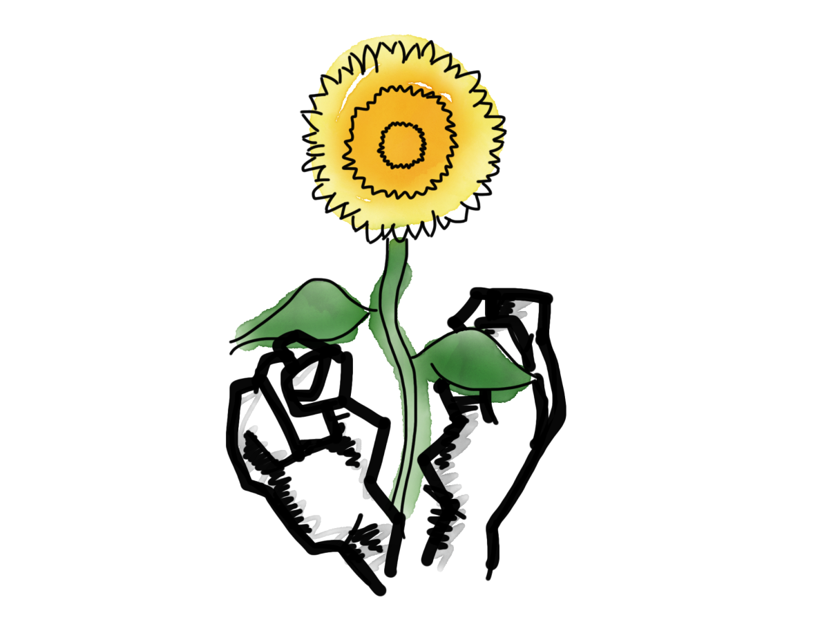Image of a flower breaking through a fist.
